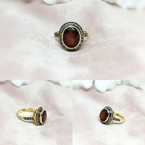 Hessonite & Diamond Sterling Silver Ring